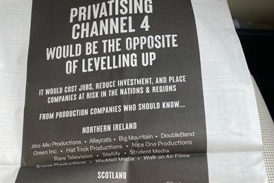 TV production companies take out Telegraph ad to protest against Channel 4 privatisation