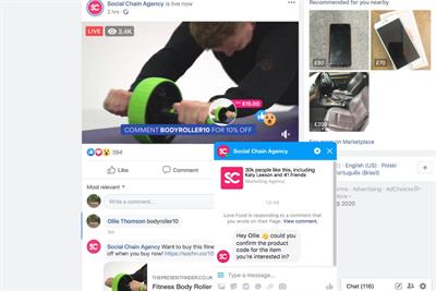 Social Chain launches live-stream shopping for Facebook videos