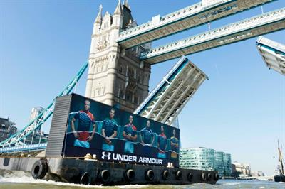 Under Armour sails shipping container down the Thames