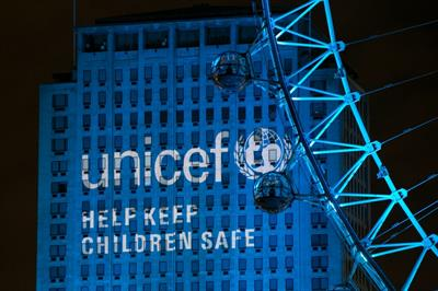 In pictures: Unicef turns landmarks blue for NYE Syria campaign