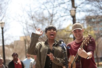 Jennifer Hudson makes a street musician's dream come true for American Family Insurance