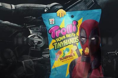 Trolli candy wants you to check out Deadpool's package