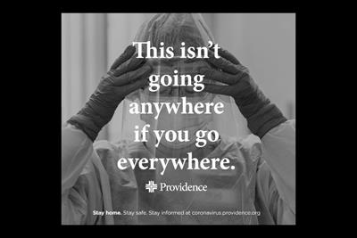 Caregivers took many of the photos seen in Providence healthcare's pandemic PSA