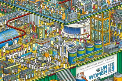 Can you find the women in these 'Where's Waldo'-style posters of Egyptian workplaces?