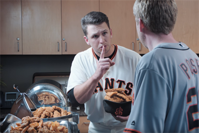 Buster Posey hoards chicken and lives in his locker in new Esurance spots
