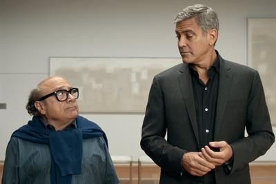 George Clooney teaches Danny DeVito how to drink coffee as Nespresso's U.S. envoy