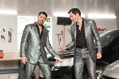 HGTV's Property Brothers don shiny suits to sing lifehacks for Esurance