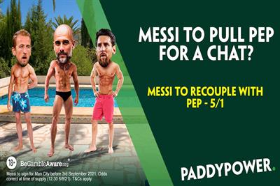 """Paddy Power """"Messi to recouple with Pep?"""" (in-house)"""