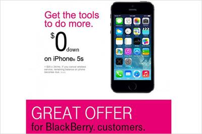 BlackBerry boss 'outraged' by T-Mobile iPhone promo