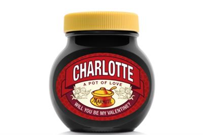 Marmite jars to carry declarations of love for Valentine's Day
