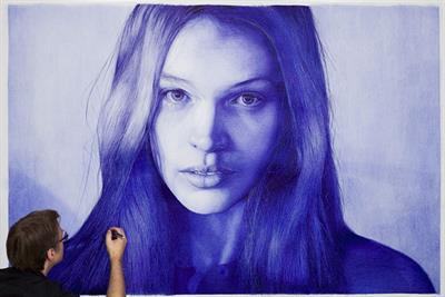 Photorealism artist Dirk Dzimirsky creates life-like woman with Waterman pens