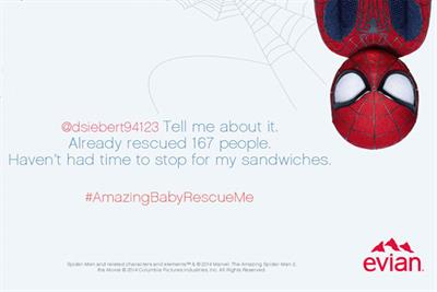 Evian baby Spider-Man 'rescues' fans with Twitter answers