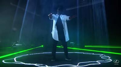 Will.i.am conducts a fleet of Lexus cars to create laser triggered music track