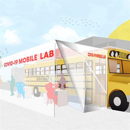 Architects retrofit school buses into mobile Covid-19 testing labs in New York