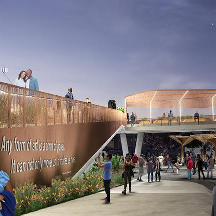 Film stars, artists, business owners and residents celebrate Black Los Angeles with groundbreaking of Destination Crenshaw