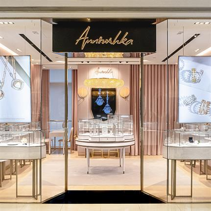 Distinctive geometric interiors and gemstones influence for Annoushka HK store