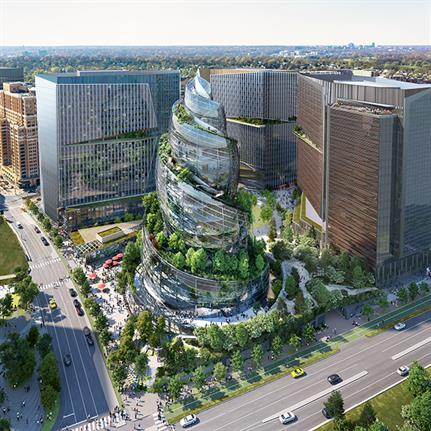 LEED Platinum helix design unveiled for Amazon's HQ in Virginia by NBBJ