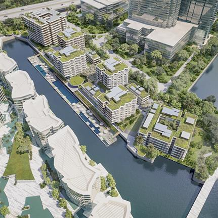 Singapore's first sustainable residential waterfront property with a floating deck