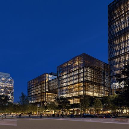 Olson Kundig's commercial high rise building fronts the Atlanta BeltLine