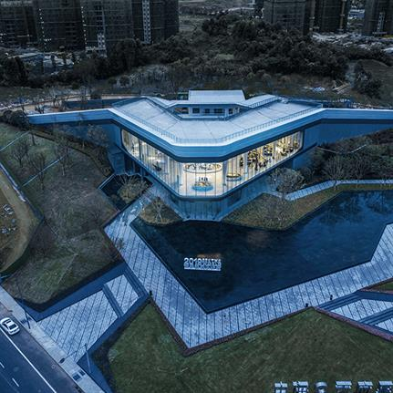 Sales gallery turned multi-functional exhibition is the Tianfu One in Chengdu
