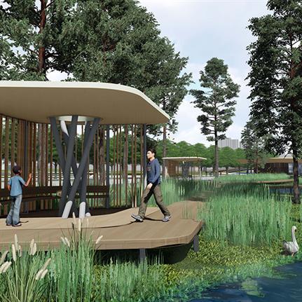 Suzhou's old amusement park repurposed into Shishan Park pavilions