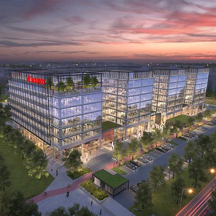 Construction on Santander's landmark new workplace is underway in Milton Keynes UK