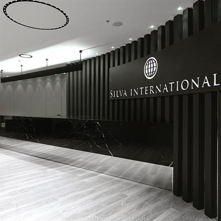 Andrea Auletta design Silva International London with solemn mineral materials