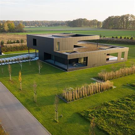 The Black House's minimalistic cuboid facade design by Medusa Group