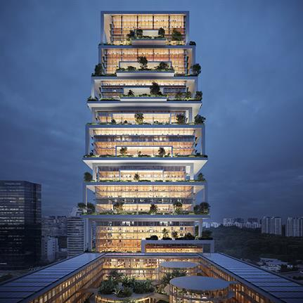 Tower of Tables: Serie + Multiply Architect's stacked pavilions in Singapore