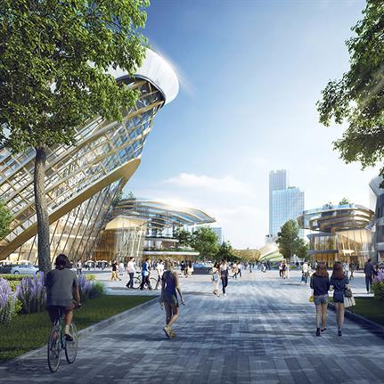 Architectural trio for Hangzhou Wangjiang New Town masterplan