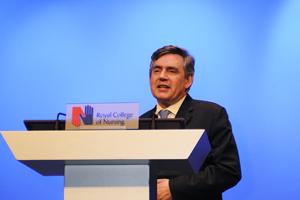 Gordon Brown and David Cameron speak at Royal College of Nursing Congress