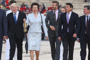 Princess Anne carries the Olympic Torch