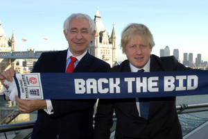 England 2018 chairman Lord Triesman and London United chair Boris Johnson