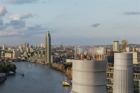 CGI of the glass tower event space at Battersea Power Station