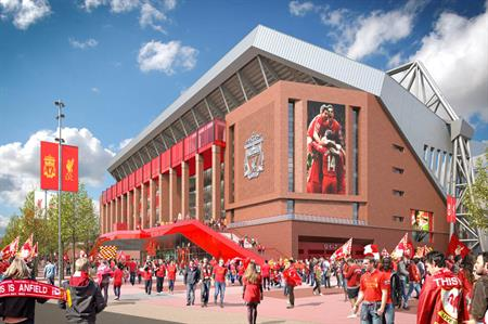 The proposed new main stand at Anfield, home of Liverpool FC