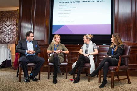 Event planners panel from left to right: Russell Allen, Crescendo; Jenny Graham, Quintessentially Travel; Holly Mills, Penguins; Caroline Lumgair, Eventful