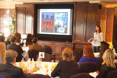 Hearst's Victoria Archbald talks to delegates at the C&IT Corporate Forum