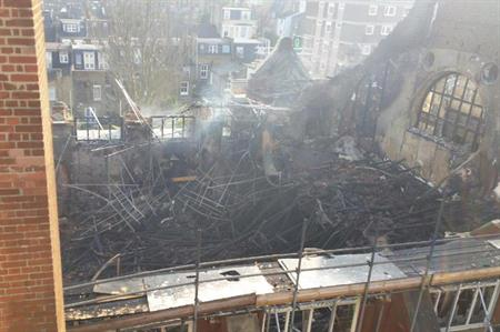Fire damage at Battersea Arts Centre. (Picture from @battersea_arts Twitter)