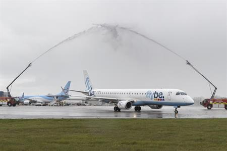 Water salute at inaugural flight