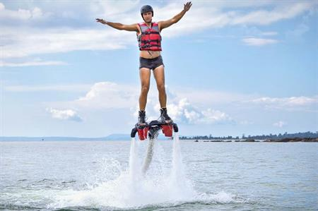 Flyboarding is a popular activity for corporate groups in Barcelona