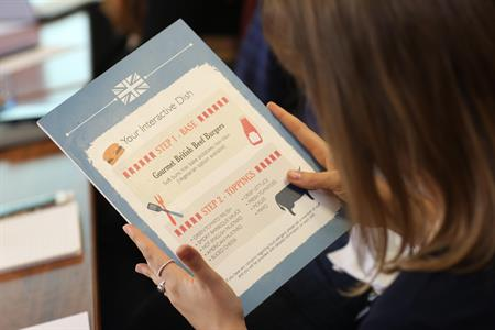 An interactive food menu
