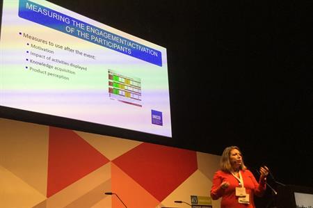 Nadine Vienne speaking at IBTM World