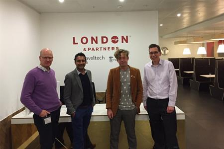 Shah at the Lab with Andrew Cooke, Trampery's founder Charles Armstrong, and MICEBOOK chairman Richard Waddington