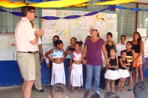 FICO chief executive Mark Green speaks at the Buena Vista School in Costa Rica