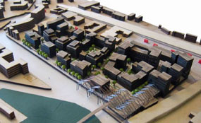 A model of plans for the Brentford Lock West scheme