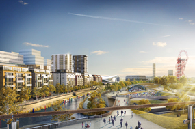 A visualiation of the redeveloped Olympic Park