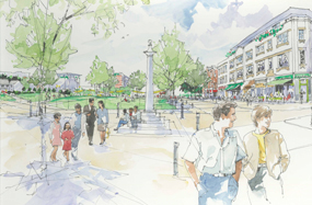 A visualisation of Jubilee Square, Leicester