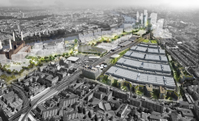 A visualisation of the plans to regenerate the New Covent Garden Market site