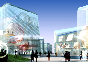 Sivertown Quays: artists impression of the 'brand pavilions'