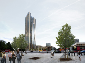 A visualisation of the St Mary's Residential element of the Elephant and Castle leisure centre site redevelopment